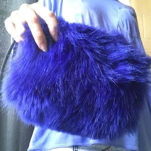 Electric blue FAUX fur clutch